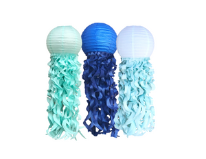 Shades of Blue Ombre Jellyfish Paper Lanterns