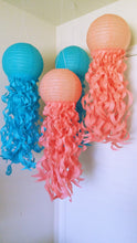 Mermaid Party jellyfish lanterns, Under the sea party, coral and turquoise paper lanterns