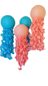 Caribbean Jellyfish lanterns-Turquoise and Coral