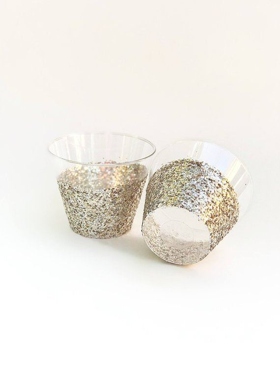 champagne gold glitter cocktail cups