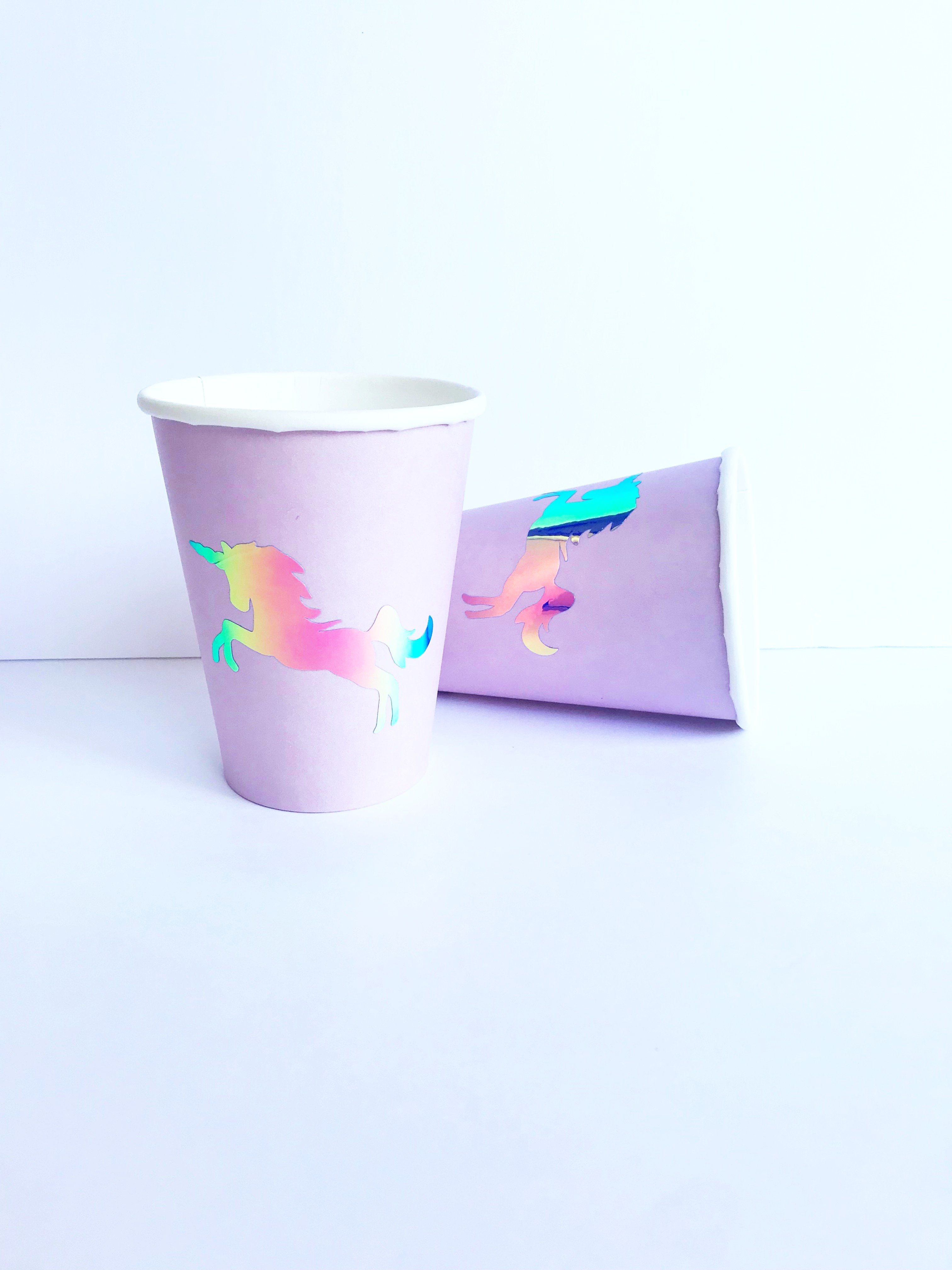 unicorn paper cups with holographic