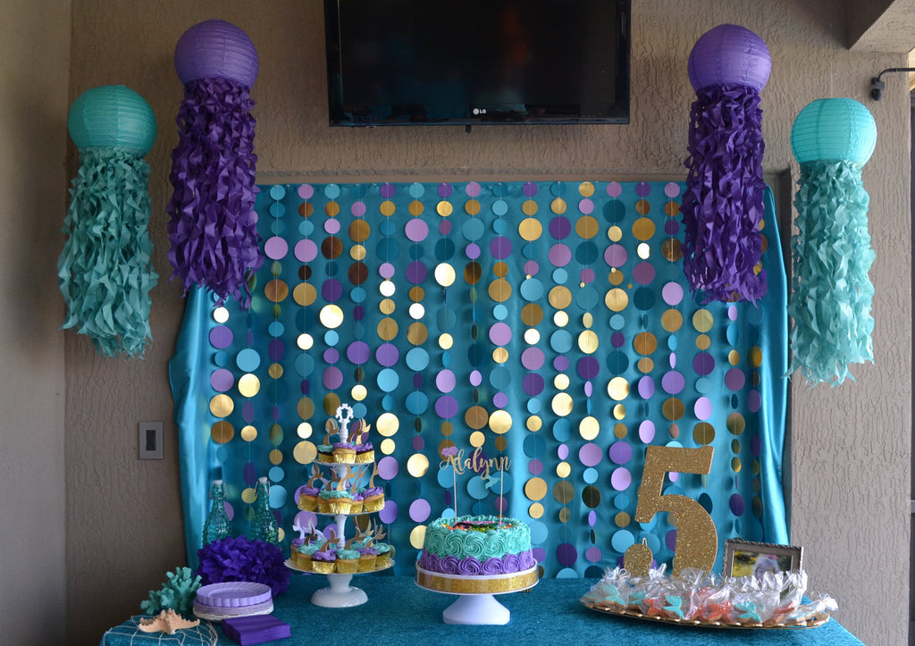 caribbean teal and purple jellyfish lanterns
