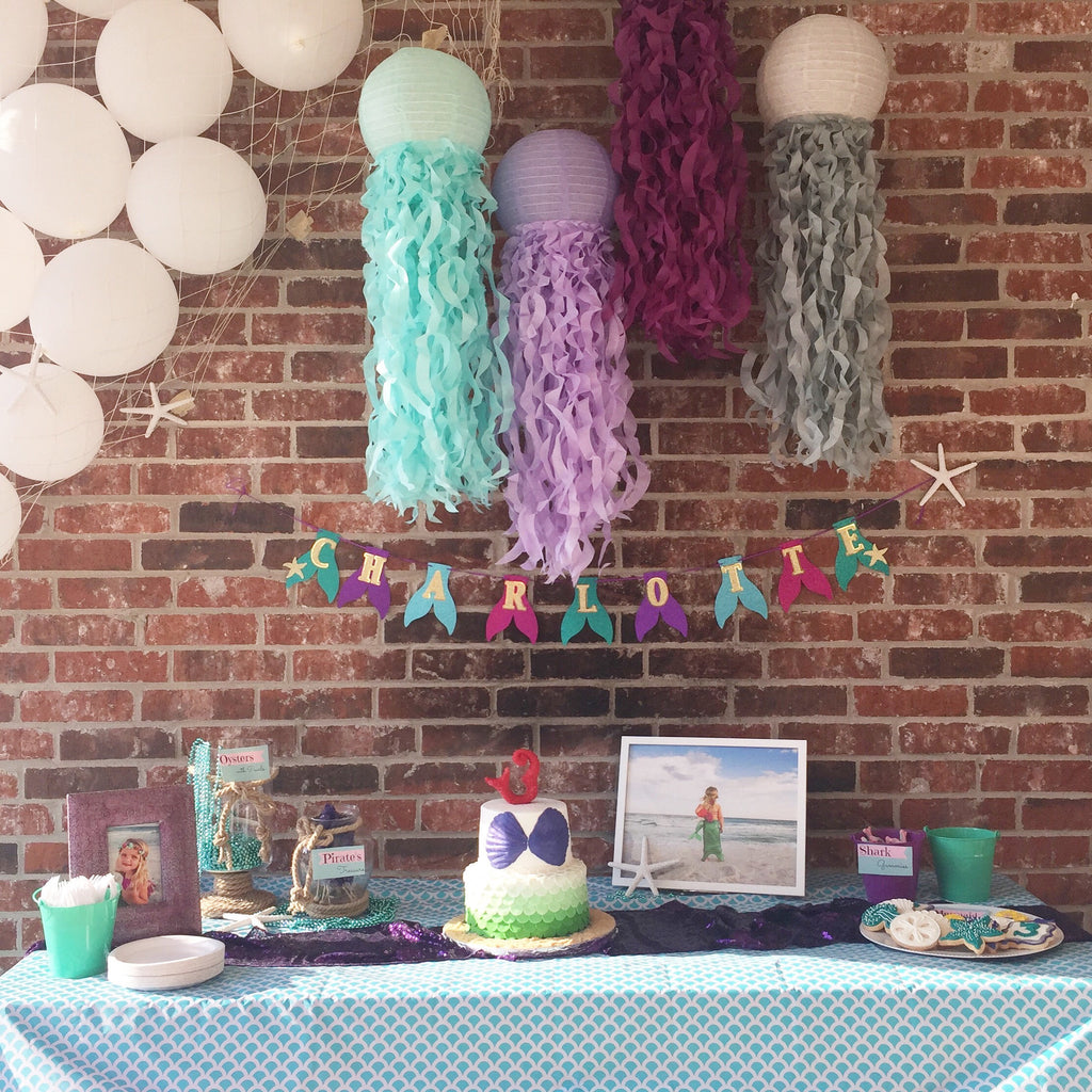 Recycled Paper Jellyfish Lanterns| Plum, Aqua, Soft Lavender and Gray
