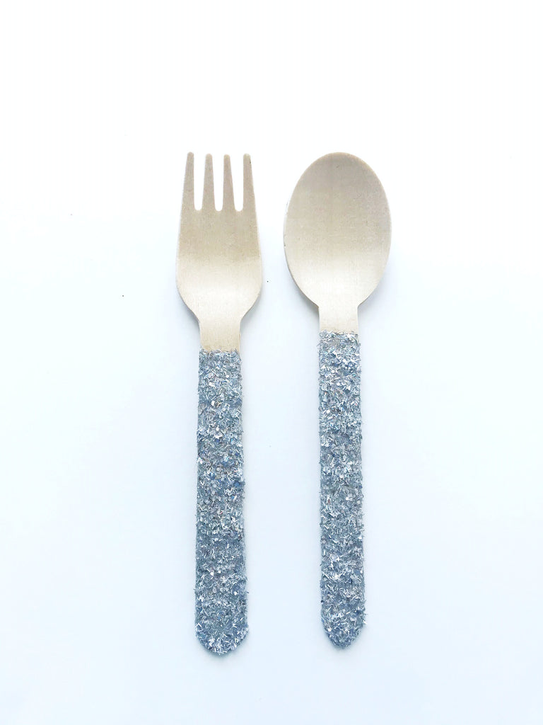 sliver glitter wooden spoon and fork set