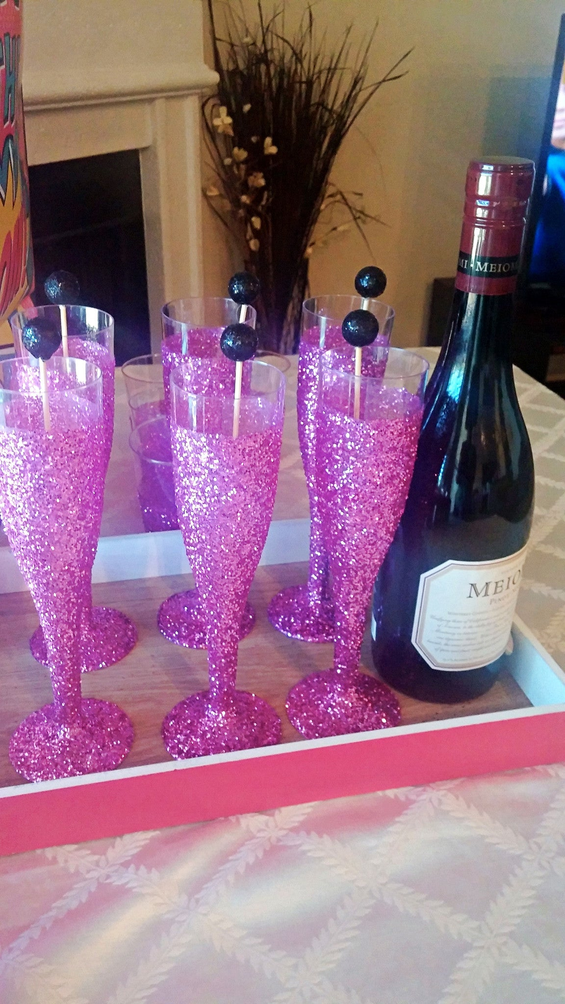 Hot Pink Glitter Champagne Flutes – Republic Of Party