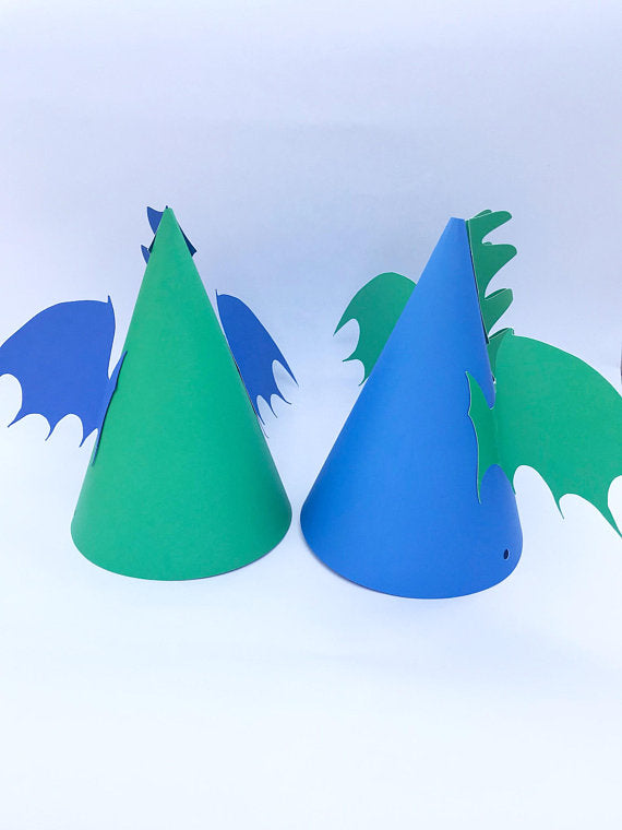 Blue and green dragon birthday party hat