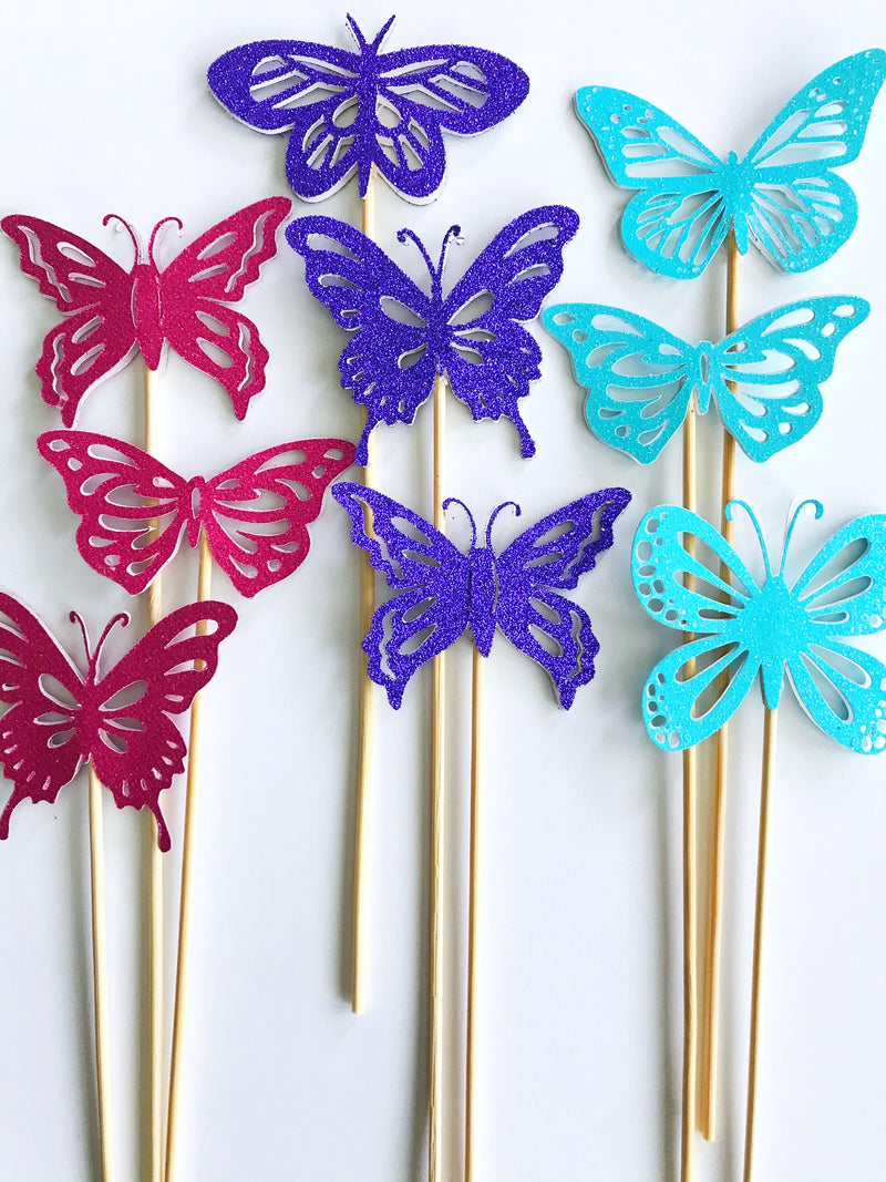 glitter butterfly drink stirrers