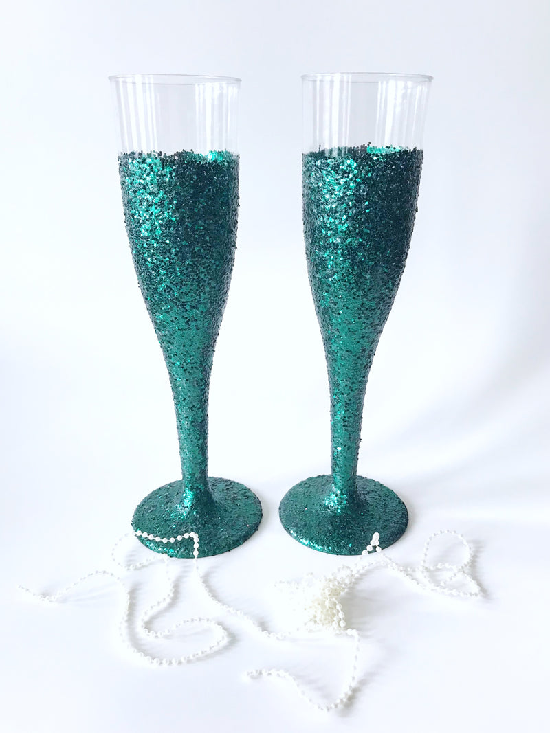 teal champagne flutes