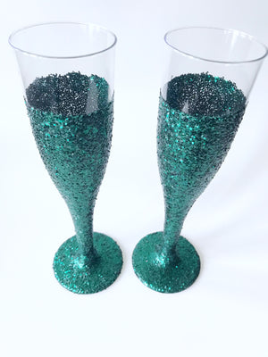 teal glitter cups