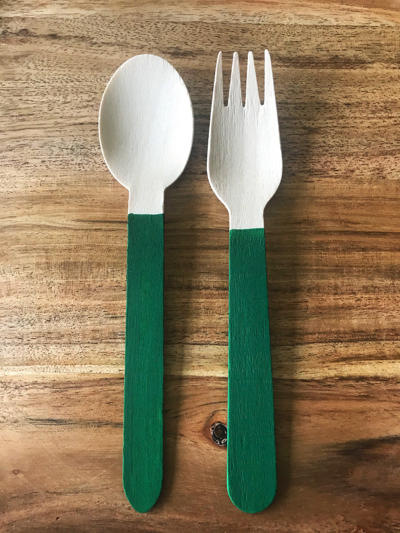 Green Forks and Spoons | Wooden Painted Forks and Spoons