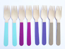 wooden hand painted forks