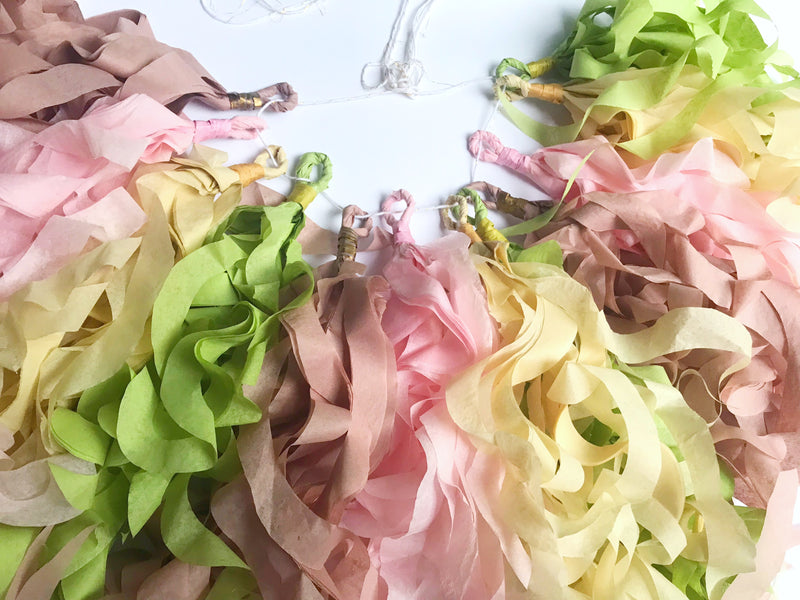 curly tissue paper garland