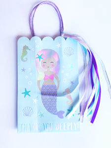 mermaid holographic foil gift bag for party favors