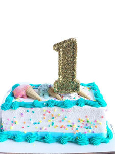 Gold Glitter Number 1 Birthday Candle