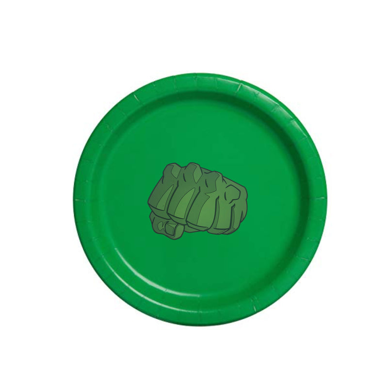green superhero plates, incredible hulk party, superhero party plates