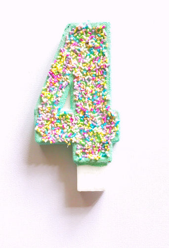4th birthday ice cream sprinkle candle