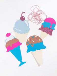 Ice cream garland banner