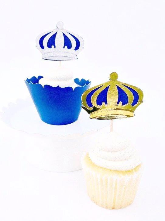 Little prince birthday party cupcake toppers