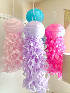 Jellyfish paper lanterns in light pink, hot pink lanterns
