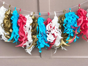 Red, White, metallic gold and blue paper tassel garland
