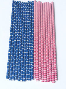 American Flag Paper Straws