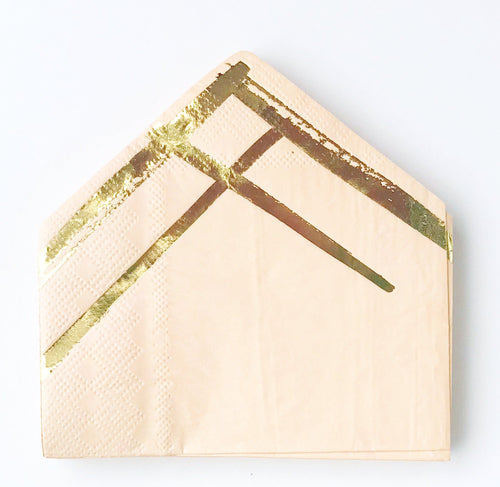 Peach and gold cocktail napkins by Harlow and gray