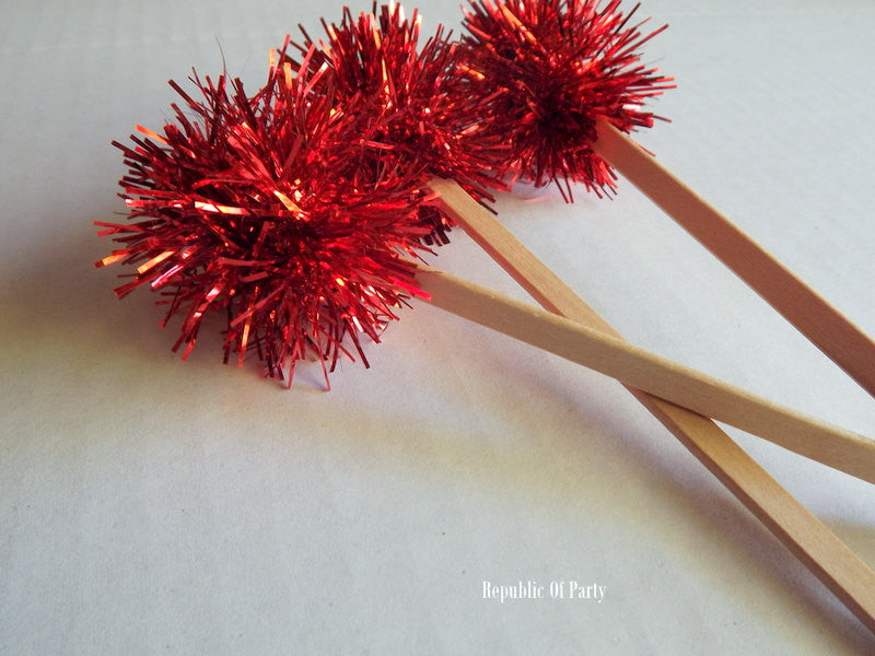 red tinsel cupcake toppers