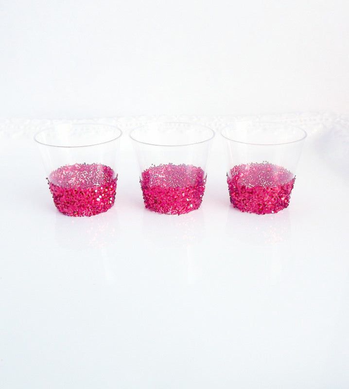 Red glitter plastic shot glasses