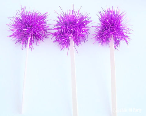 dark pink tinsel drink stirrers