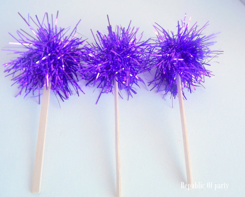 Purple Tinsel Drink Stirrers