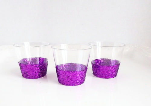 Glitter Plastic Shot Glasses-Purple