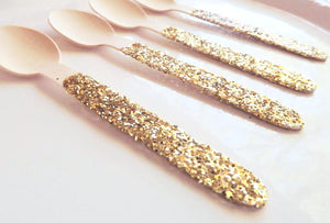 gold glitter wooden spoons for dinner parties
