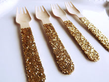 gold glitter wooden forks for parties