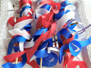 Paper Wand Streamers Red, White, Blue