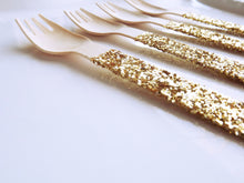 gold glitter wooden earth friendly forks