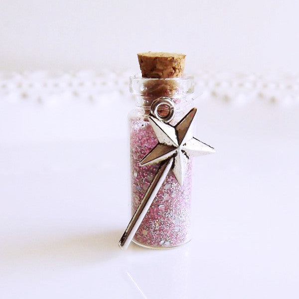 pink glitter fairy dust party favors with white bag