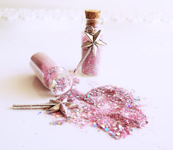 Pink glitter fairy dust favors