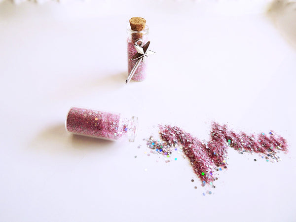 Pink glitter wishing dust fairy favors