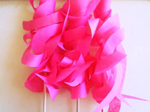 pink tissue paper curly ribbon wands