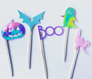 Pastel halloween cupcake toppers