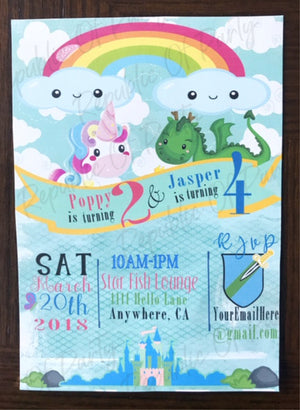 Birthday invitation for a dragon and unicorn birthday party, twin birthday party