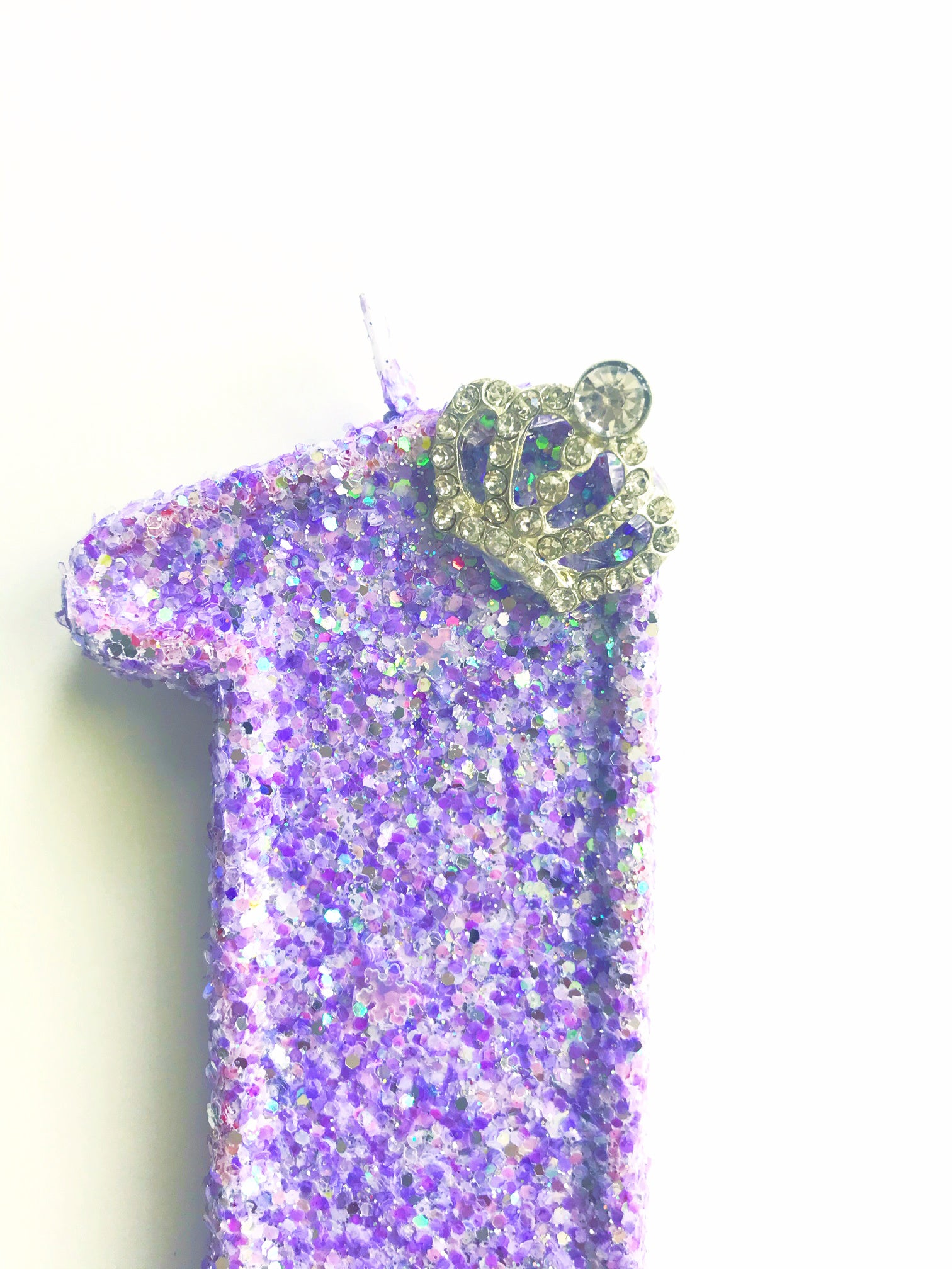 princess glitter birthday candle with crown