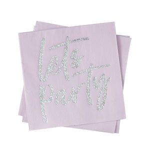 Let's Party Pink Iridescent Foiled Napkins