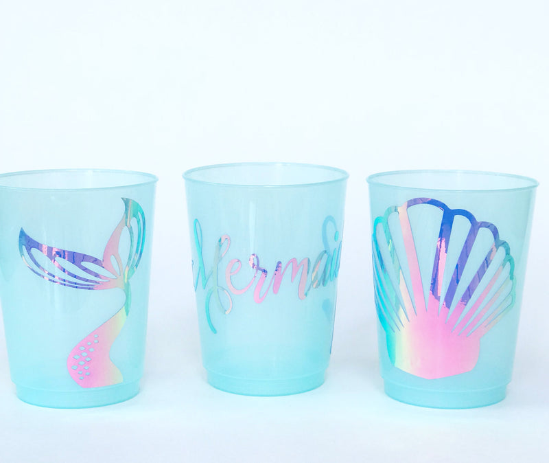 holographic mermaid shell cups