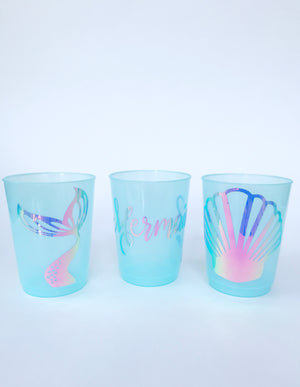blue mermaid plastic cups