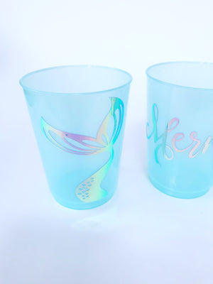 Mermaid birthday party plastic cups in blue aqua