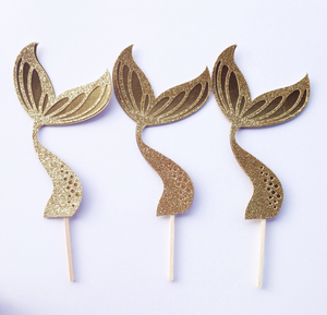 Gold glitter mermaid tail picks for cupcakes