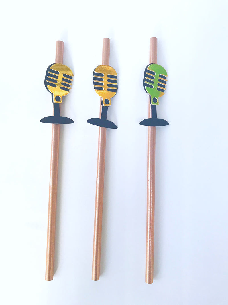 Microphone Straws- Rose Gold