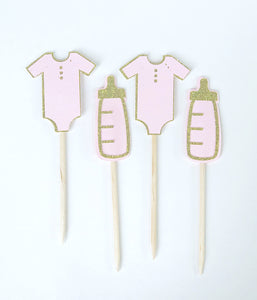 Pink baby bottle and onsie cupcake topper picks