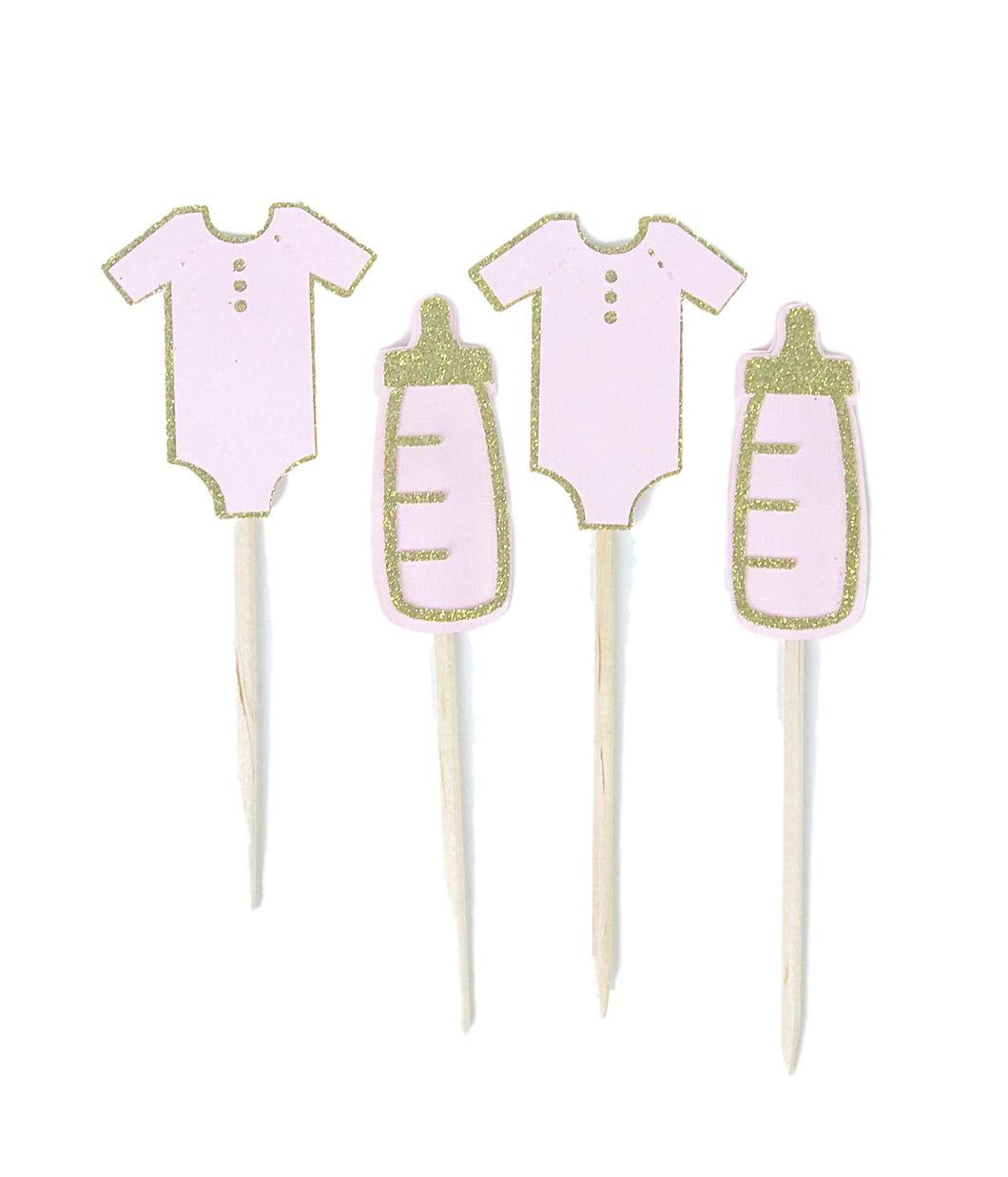 Pink and gold glitter baby bottle and onsie cupcake topper picks